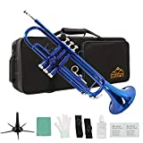 Eastrock Trumpet Standard Bb Blue Trumpet Set for Student Beginner Brass Instrument with Hard Case, Gloves, 7C Mouthpiece, Stand and Trumpet Cleaning Kit