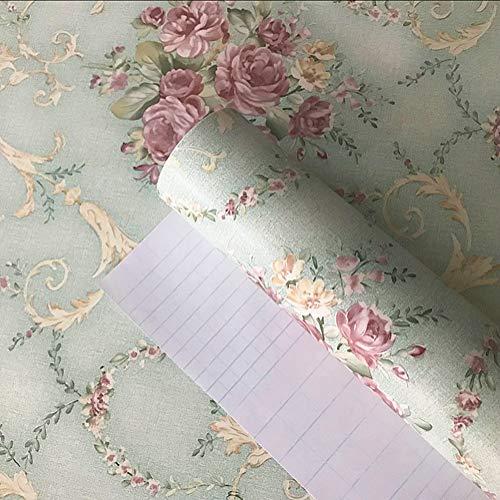 Teemall Vintage Blooming Flower Wallpaper Peel & Stick Backsplash Mural for Livingroom Bedroom Kitchen 17.7''x98''