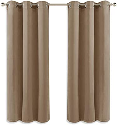 Deconovo Functional Ring Top Curtains Eyelet Blackout Curtains Thermal Insulated Curtians for Kids Bedroom Black 42 x 63 Inch 2 Panels