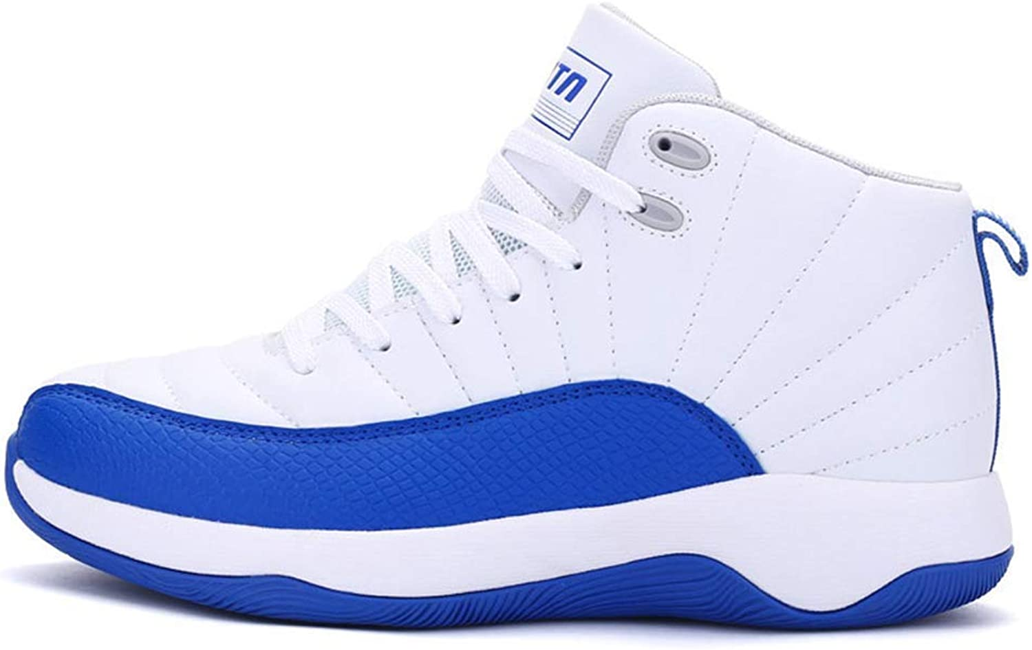 ZHRUI Men Sneakers Basketball shoes Anti-Slip Outdoor High-Top bluee Trainers Lace-up Running shoes (color   White bluee, Size   8.5=42 EU)