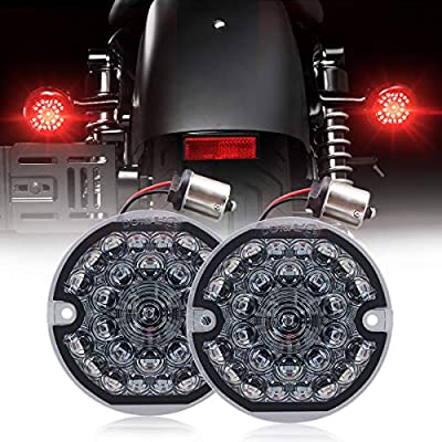 3-1/4 Inch Rear Led Turn Signal Flat Smoke Lens 1156 Base Bright Red Lamp for Harley Motorcycle Road Glide Road King Softail Ultra Classic Ultra Limited Electra Glide (1156 Rear, Red)