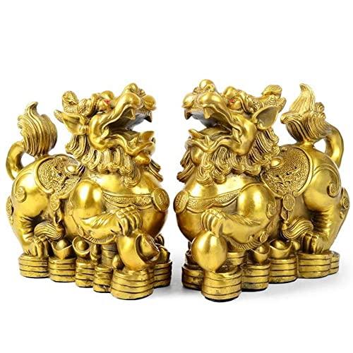 LHMYGHFDP 2 Piezas Feng Shui Latón Pixiu/Pi Yao Estatua Riqueza Prosperidad Decoración del Hogar Estatuilla Atraer Dinero Y Buena Suerte, Regalo Que Atrae Riqueza para Negocios O Apertura De Tienda