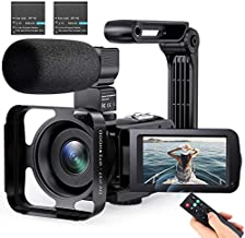 Video Camera Camcorder with Microphone 2.7K YouTube Vlogging Camera IR Night Vision 16X Digital Zoom 3 inch IPS Touch Screen Video Recorder Handheld Stabilizer, Remote Control Without SD Card