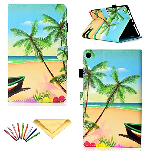 Uliking Case for (8') Amazon Kindle Fire HD 8 Tablet Case (8th/7th/6th/5th Gen, 2018/2017/2016/2015), Smart Folio Stand PU Leather Cover with Card Slots Pencil Holder [Auto Sleep/Wake], Beach Palm