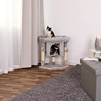 lionto by dibea Arbre à chat arbre à grimper griffoir pour chat hauteur 60 cm gris clair