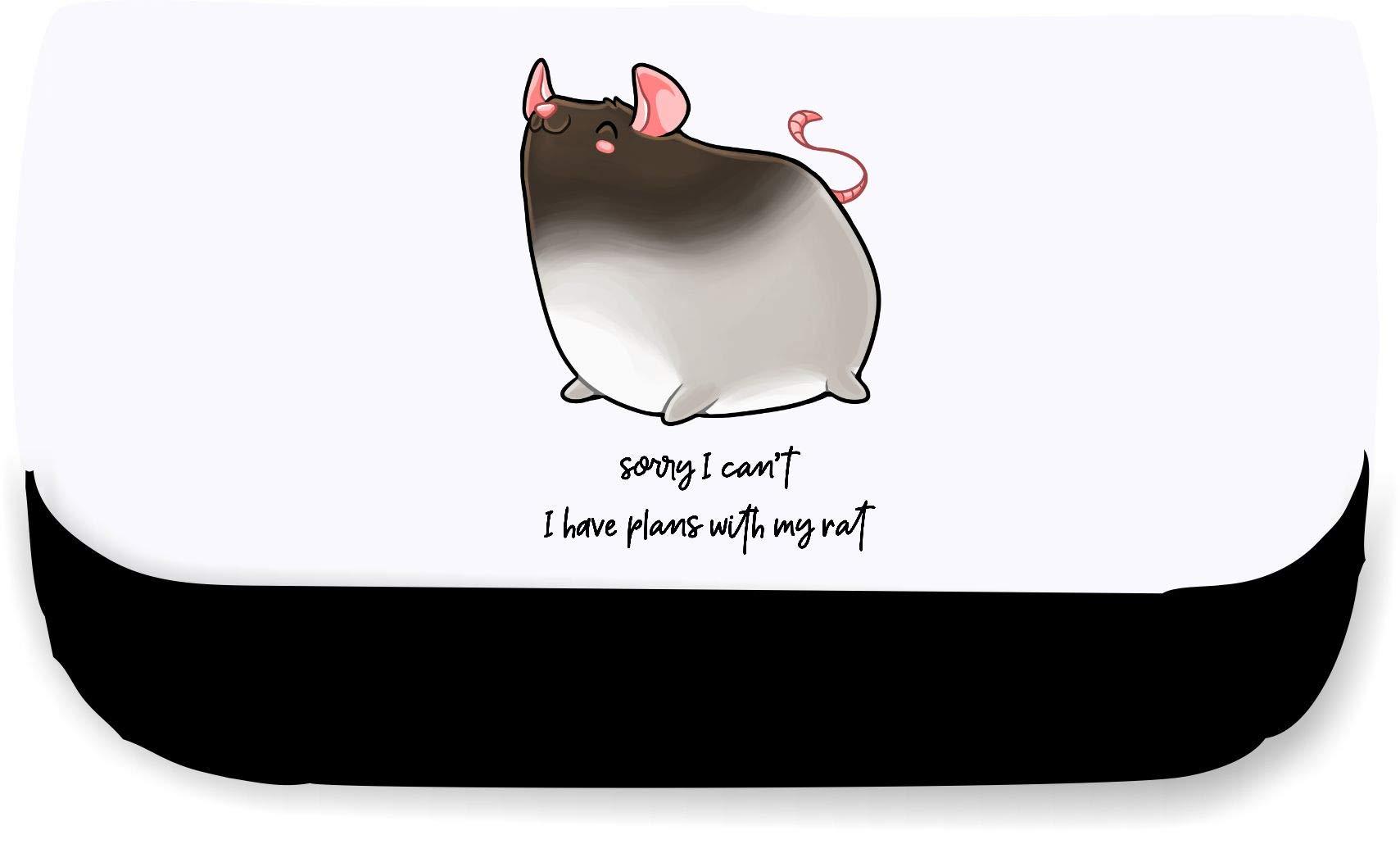 Estuche estilo cartera con frase en inglés «Sorry I Cant I Have Plans» con texto en inglés «My Rat Quote», color negro talla única: Amazon.es: Oficina y papelería