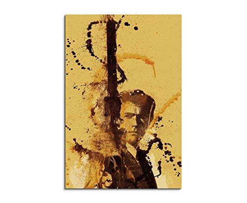 Clint Eastwood 90x60cm Kunstbild auf Leinwand fertig zum aufhängen, Wandbild als Aqurell Art nach Gemälde von Paul Sinus