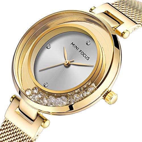 Mini Focus Reloj Mujer, Reloj de Pulsera de Cuarzo con Diamantes de imitación para Mujer, Pulsera de Acero Inoxidable con Malla, Relojes de Pulsera Impermeables con Caja (Gold)