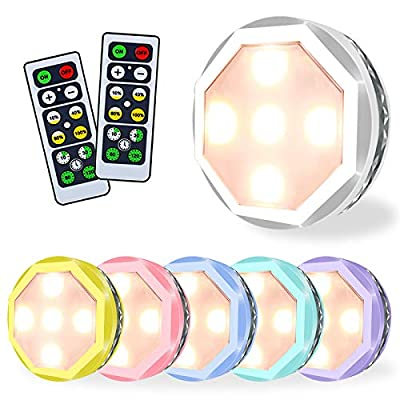 Puck Lights with Remote Control, Rainbow Wireless Under Cabinet Lighting, Led Battery Operated Tap Light, Stick on Lights for Kitchen Closet, 6 Pack (Warm White)