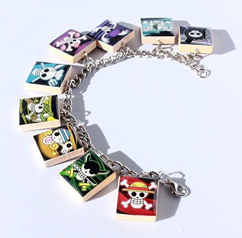 One Piece Jolly Roger Inspired Scrabble Tile Charm Bracelet - Anime Inspired