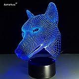Luz de Noche para Perros LED Ilusión 3D 7 Colores Vestidor Decoración Luz Niño Niño Bebé Kit Lámpara de Mesa Cama Cabezal 6 Sin Controlador