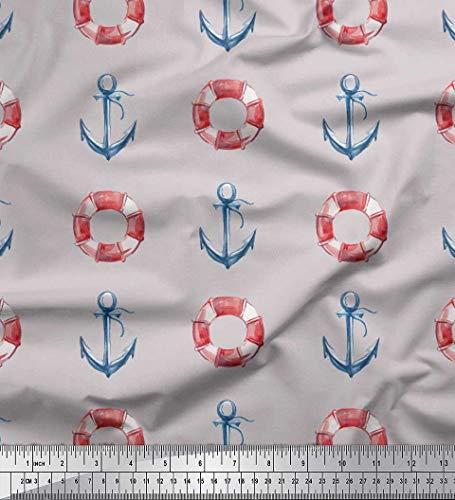 Soimoi Grau Baumwolle Ente Stoff Rettungsring & Ankerhaken nautisch Stoff drucken 1 Meter 42 Zoll breit