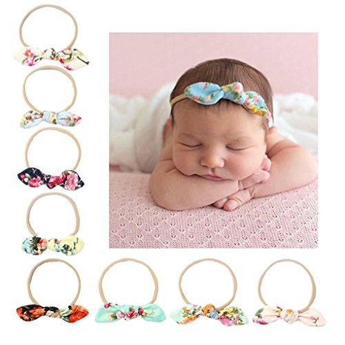 CHSEEA 9 Stück Baby Stirnbänder Elastische Haarband Turban Kleinkind Stirnband Haar Bogen Fliege Schleife Haarreifen Mädchen Head Wrap zur Kostüm Fotografie Props #5