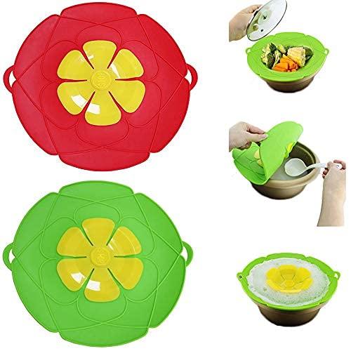 2 tapas para ollas con tapa de silicona para evitar derrames, para cocinar sobre discos protectores, para evitar que la olla se cocine