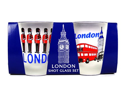 Frosted Shot Bril met London Icons, Set van 2 Brillen - Big Ben, Bus, Taxi Print en Guardsmen Print -2177004