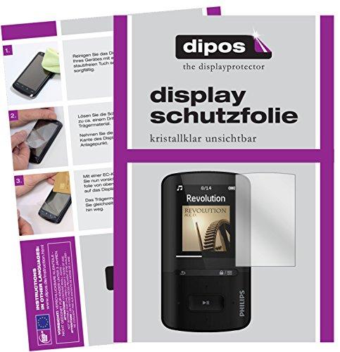 dipos I 2X Schutzfolie klar kompatibel mit Philips SA4VBE04KN12 GoGear Vibe Folie Displayschutzfolie