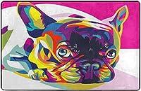 ブルドッグポップアートスーパーソフトインドアモダンエリアラグふわふわラグダイニングルームホームベッドルームカーペットフロアマットベビーキッズ犬猫60x39インチ-80x58インチ