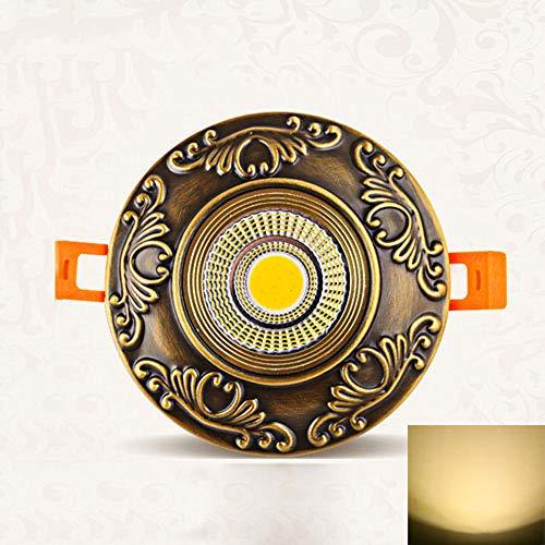 Pinjeer Vintage LED 3000K Bronze Runde Einbaustrahler Europäische Muster Eingebettet Downlights Wohnzimmer Gang Studie Büro Laden Dekorative Beleuchtung Deckenverkleidung Lichter (Größe : 7w)