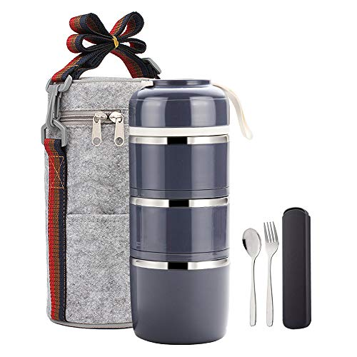 YBOBK HOME Bento Lunch Box Leakproof Stainless Steel Stackable Lunch Box with Bag and Reusable Flatware Set Thermal Food Storage Container for Healthy On-the-Go Meal and Snack Packing (3-Tier, Gray)