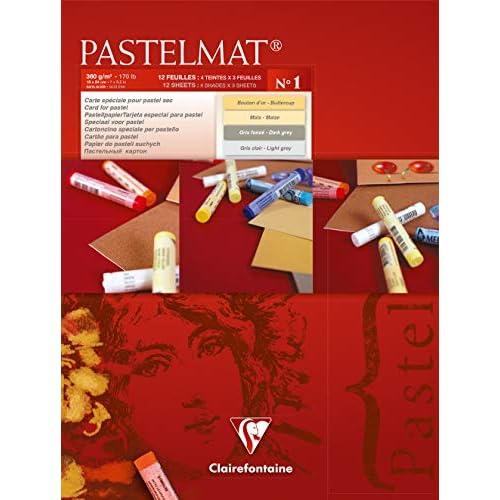Clairefontaine 18 x 24 cm PastelMat Pastel Card Pad No1, 360 g, 12 fogli, colori assortiti