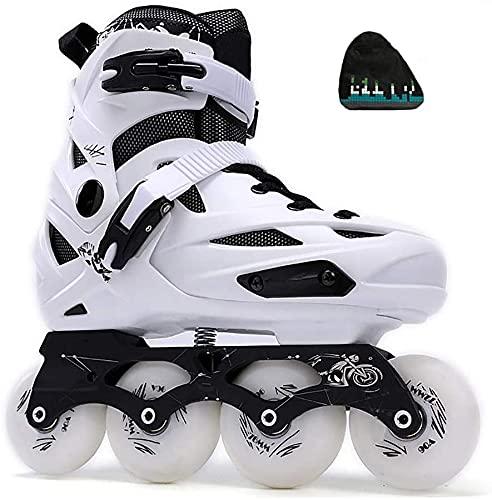 TAIDENG Patines para exteriores ajustables en línea para adultos y exteriores, de alto rendimiento, para hombres y mujeres, patines de una sola fila (color: blanco, tamaño: L (EU40-44))