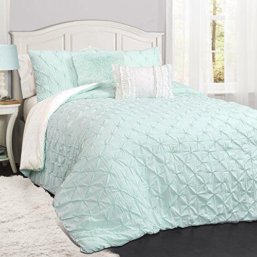 Lush Decor Décor Ravello Pintuck 5 Piece Comforter Set, Full/Queen, Light Aqua