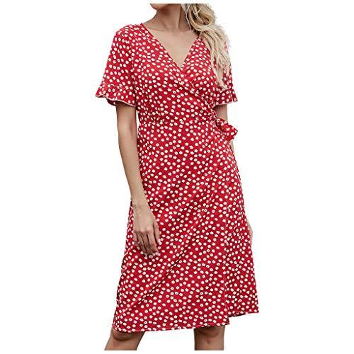 Dasongff Sommerkleid Damen Kurzarm Elegant V-Ausschnitt Knopfleiste Polka Dot Kurze Strand Freizeitkleider mi Gürtel Elegante Vintage Rockabilly Tunika Kleid Strandkleider