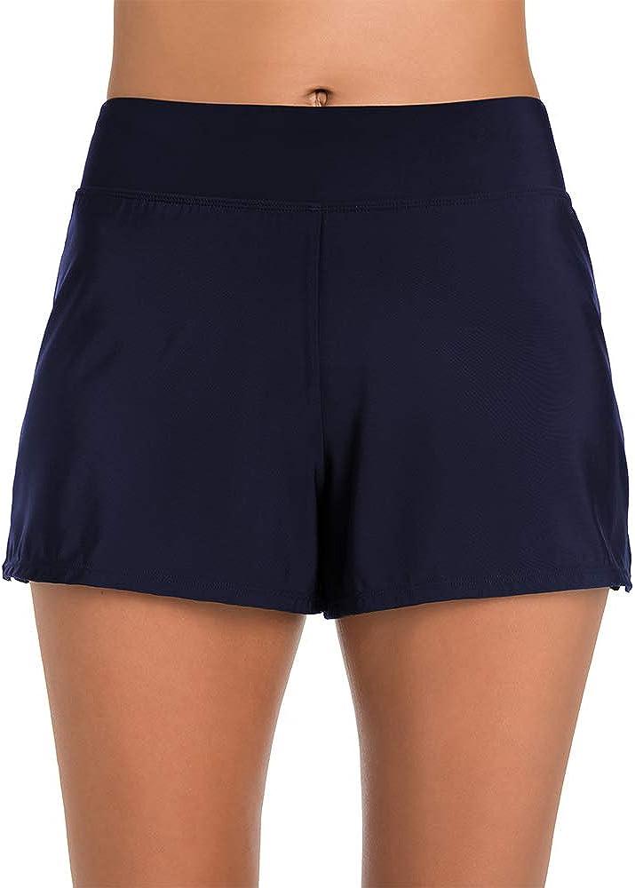 Penbrooke Plus Size Women's Swimwear Solid Slit Yoga Waist Short Swim Bottom