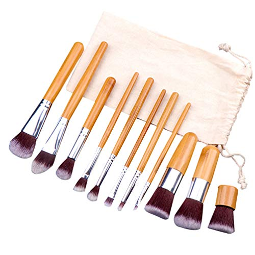 Minkissy Pinceau de Maquillage Ensemble 11 Pcs Poignée en Bambou Brosse à Cosmétiques avec Sac en Lin Kabuki Fondation Brosse de Mélange pour Femme Hommes Voyage en Plein Air Utilisation Quotidienne
