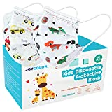 JOYCOLOR Cute kids face mask,Children's 3 Ply Protective Earloop Disposable Filter Masks with Dinosaur & Car Print for Dust Air Pollution | 50 Pcs