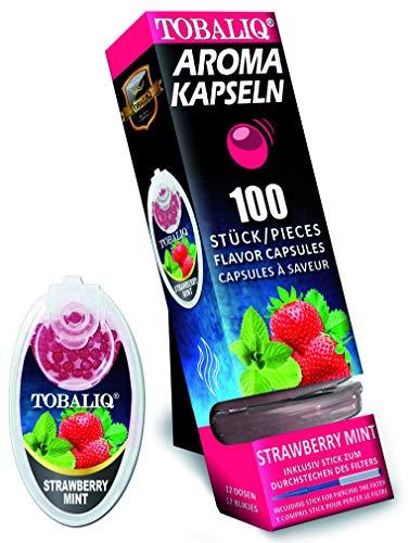 TOBALIQ 100 Aromakapseln mit MINT STRAWBERRY Geschmack | Aromatische Kugeln für Zigaretten in verschiedenen Geschmack Sorten | Flavour rauchen | Click Hülsen Perlen in Schachteln