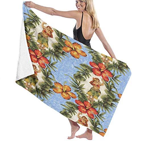 Aquarell Aloha Hibiscus Hula Bella Flor Feliz Atractiva Toalla de playa más grande para adolescentes y niñas adultos Toalla de viaje 80 x 130 cm