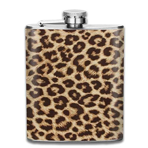 Petaca de acero inoxidable portátil de 7 onzas con estampado de leopardo lumbar, para licor, whisky, vino, bandera, para escalada, camping, barbacoa, bar, fiesta, bebedor