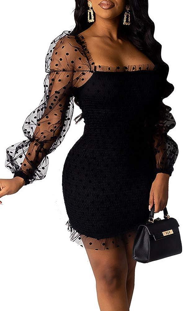 Blansdi Women Polka Dots Bishop Sleeve Patchwork Mini Dress Ruffle Trim Slim Square Neck Dress