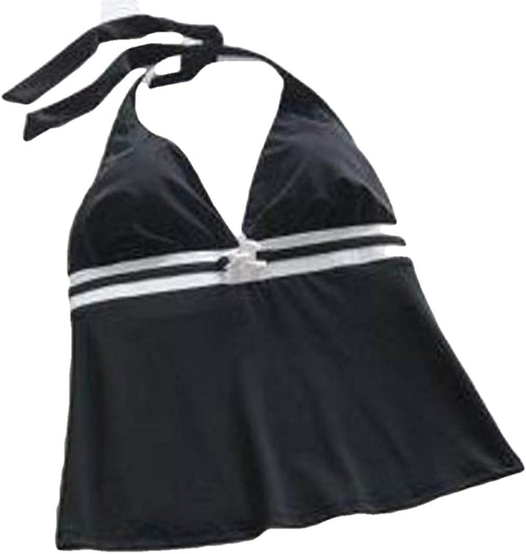 Sonoma Womens Black & White Tankini Halter Swimsuit Top, Size 8