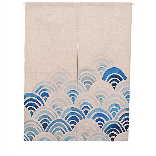 Liveinu Lino Cortinas para Puerta Japonesa Noren Cortina con Barra De Tensión Hecho A Mano Cortina de Entrada Tapiz para Decoración,Dividir La Habitación 85 x 120 cm Patrón Geométrico Azul 2