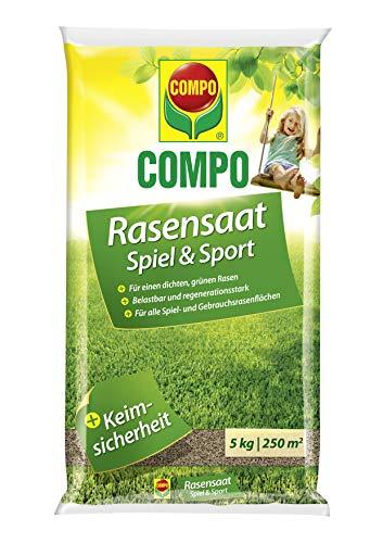 COMPO Rasensaat Spiel und Sport, Rasensamen, Universelle Rasenmischung, 5 kg, 250 m²