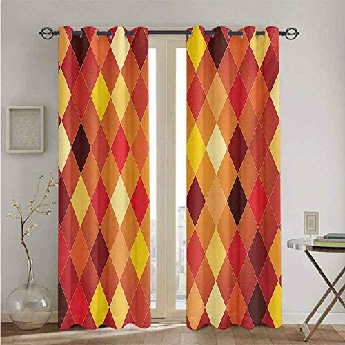 nooweihome Geometric Best Home Fashion Thermal Insulated Blackout Curtains Argyle Pattern with Colorful Rhombuses Classic Lozenge Geometric Arrangement Soft Darkening Curtains W84 x L108 Multicolor