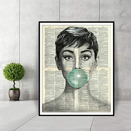 Retro Poster Audrey Hepburn Blau Kaugummi Wohnkultur Poster Und Drucke Schwarz Und Weiß Wandkunst Wörterbuch Kunst Leinwand Malerei 30X40 cm
