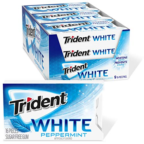 Trident White Peppermint Sugar Free Gum, 9 Packs of 16 Pieces (144 Total Pieces) by Trident