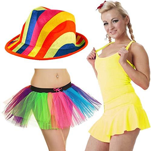 FashioN HuB Sombrero de payaso arco iris para mujer, para fiesta, chaleco, accesorio de disfraz 2 veces grande