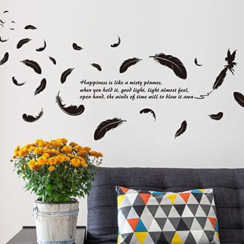ZNXZZ Pluma negra pared DIY Vinilo adhesivo presupuestos pegatinas murales para el...