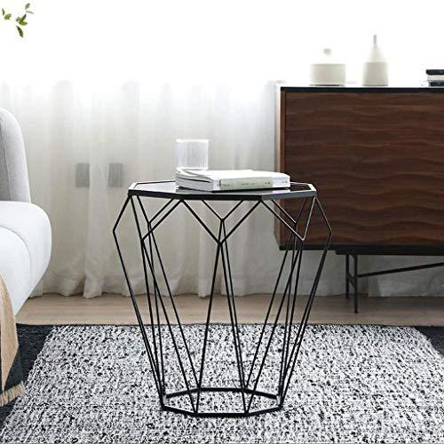 H-CAR Mesa auxiliar, mesa de centro, mesa auxiliar, mesa auxiliar de cristal templado, mesa de centro de hierro para sala de estar, dormitorio, sofá de 4656 cm, mesa auxiliar (color: negro)