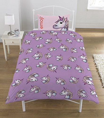 Emoji Unicorn Single Duvet Set, Polyester-Cotton, Lilac