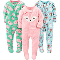 3-Pack Simple Joys by Carter's Loose Fit Fleece Footed Pajamas