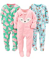 Simple Joys by Carter's Baby Girls' Toddler 3-Pack Flame Resistant Fleece Footed Pajamas, Polar Bear/Pigs/Fox, 3T