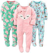 Simple Joys by Carter's pijama de forro polar suelto para bebés y niñas pequeñas, paquete de 3 ,Polar Bear/Pigs/Fox ,18 Meses