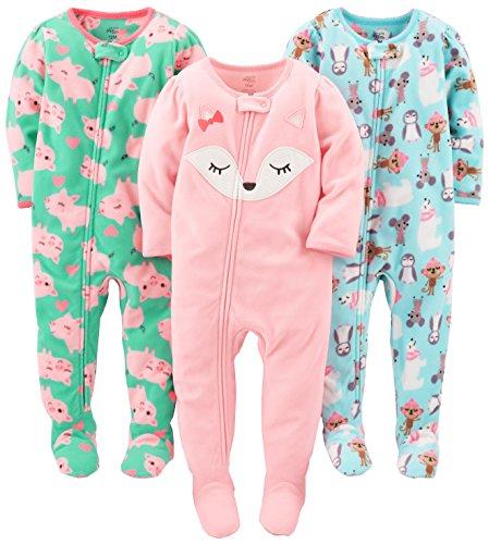 Simple Joys by Carter's Mädchen 3-pack Loose Fit Flame Resistant Fleece Footed Pajamas Schlafstrampler, Eisbär/Schweine/Fuchs, 12 Monaten