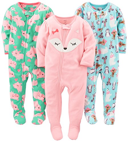 Simple Joys by Carter's Baby Girls' 3-Pack Flame Resistant Fleece Footed Pajamas, Polar Bear/Pigs/Fox, 18 Months