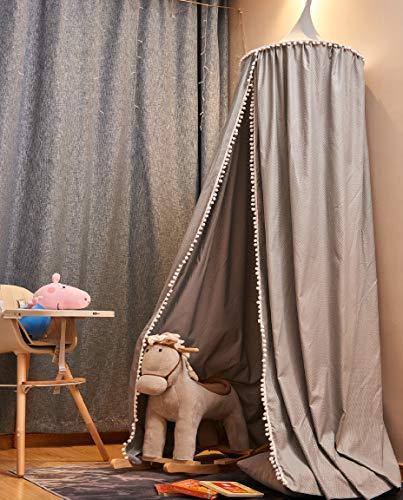 EUGAD Betthimmel Baby Kinder, Baldachin Bettvorhang Kinderzimmer, Deko für Kinderzimmer Schlafzimmer Spielzimmer, Moskitonetz Insektenschutz für Prinzessin und Prinz, Mädchen Junge Baby Kinder (grau)